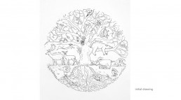 White oak tree initial drawing