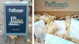 L'affinage sign and cheese box